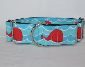 Happy Whale Martingale Dog Collar - 1.5 or 2 Inch - fun red blue white nautical ocean water fish