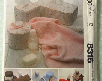 Tissue Box Covers, Houses, Bathroom Tissue Cover UNCUT Vintage 1980's McCalls Pattern 8316