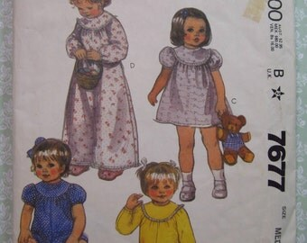 Baby Girls Romper, Dress or Nightgown size Medium (21-26 lbs) Vintage 1980's McCalls Pattern 7677 Cut/Complete