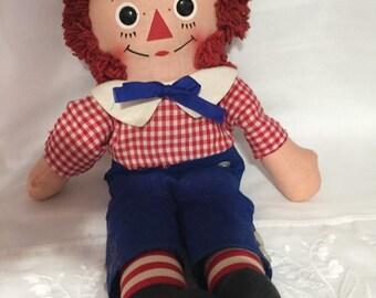 Raggedy Andy Cloth Doll/ Mid Century Rag Doll/Volland /Georgene Novelties/Knickerbocker Raggedy Andy Cloth Doll c. 1970