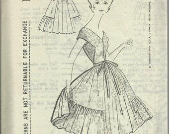 1960s Dance Dinner Cocktail V Neck Shirring Full Skirt Mollie Parnis Spadea N-1338 FF Size 12 Bust 35 Women's Vintage Sewing Pattern