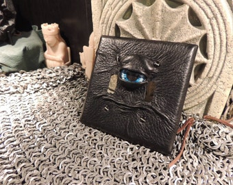 Double Light switch cover:Black Leather and Blue Eye