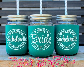 Bachelorette Party Cup, Drinking Team, Cheers Bitches, Teal, Green,