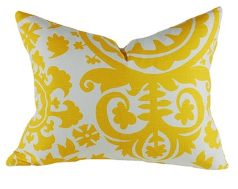 Premier Prints Yellow Suzani Pillow Cover, Yellow and White Pillow Cover, Lumbar Pillow, Select Your Size