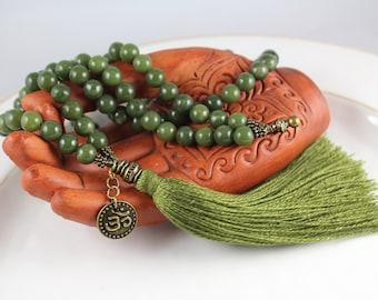 Natural Green Jade Mala, Gemstone Mala, Tassel Necklace, Jade Mala, Prayer Beads, Mala Beads, Knotted Mala, Tassel Mala, Tassel Necklace