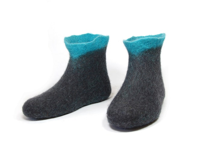 Slipper Wool Ankle Boots Turquoise And Black, Rubber Soles 7 Color Indoor Outdoor, Wool Valenki Boots Socks, Supernatural Gifts For Her