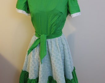 Western Dress circle skirt lace green white dance rockabilly pinup fit and flare dance S