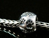 Paw Prints Sterling  European Charm Bead BHB Fits Trollbeads and All Other Systems