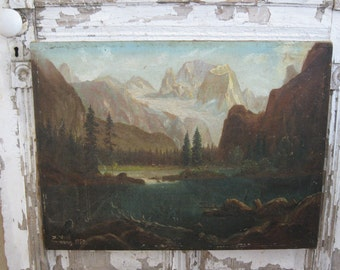 SALE! NOW 80.00! Vintage oil painting, landscape, mountains, lake, stream, fishing boat, rustic, cabin decor
