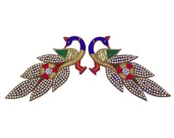 Peacock Applique Craft Patch Supplies Designer Sewing Applique Bridal Applique Dress Patch Decorative Applique By 2 Pcs PA248A