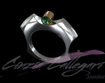 Sun is a modern and confortable ring in S. Silver with 9ct/18ct yellow tube with tourmaline