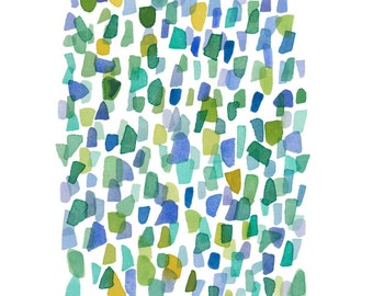 Abstract watercolor painting sea glass art, original painting abstract watercolor green blue dots