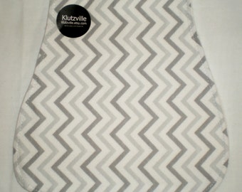 Grey Chevron Flannel Burp Cloth