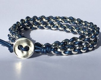 Woven Chain and Leather Bracelet Kit - Metallic Blue and silver