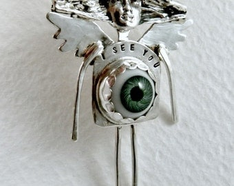 Eye See You - Up Cycled Sterling Silver, Glass Eye, And PMC - Women - Strength - Empowerment - Echo Friendly - Art Jewelry Pendant - 1689