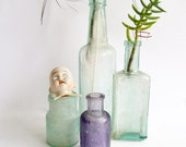 Trio of Bottles, Green and Purple,  Amethyst Colour, Old Glass Bottles, Holbrook and Co, Antique Bottles,