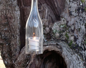 Wine Bottle Candle Holder Hanging Hurricane Lantern Clear Glass Chardonnay