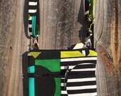 Small Cross Body Bag Purse, Sling Bag, Hip Bag Zipper Closure -  Vintage green and black mod circle design