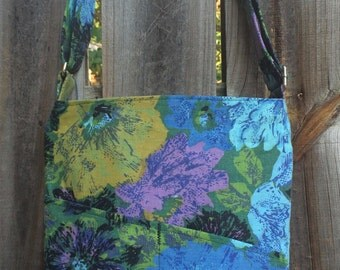 Cross Body Messenger Bag with zipper closure and lots of pockets - Vintage purple, blue and green flowers
