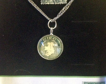 Ireland postage stamp pendant ((NOTE: This is the original antique stamp) St. PATRICKS GIFT