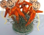 6 Orange Chenille Pipe Cleaner Jack O Lantern Halloween Party Decor, NOS, Pumpkin Man Hanging Ornaments