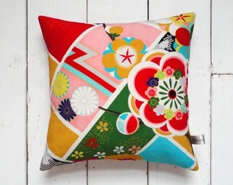 Bright Coloured Decorative Vintage Japanese Silk Kimono Cushion Pillow 'Pop Flower' (1960's)