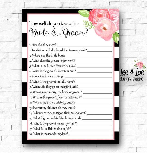 How Well Do You Know The Bride And Groom Bridal By LeeandLoe