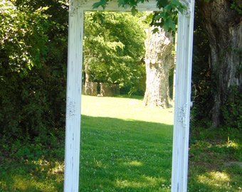 Ornate Mirror , Shabby Chic ,Dressing Mirror, Wall Mirror,  White Distressed Shown ,or Choose Color, 78 Inches Tall