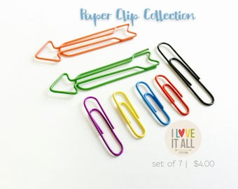 Paper Clip Collection | Arrows Clips Shaped Orange Red Blue Green Purple Yellow . Listers Kit Planner Supplies Erin Condren Maambi Filofax