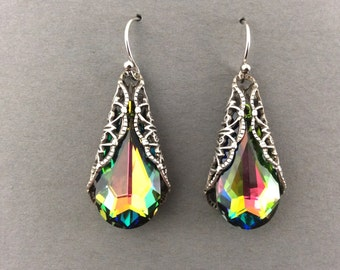 Earrings With Swarovski Crystal Vitrail Teardrops With Silver Filigree Cone Wrap