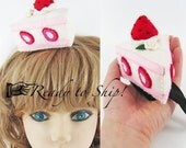 Felt Strawberry Cake Fascinator for Alice in wonderland Tea Party or Birthday Party