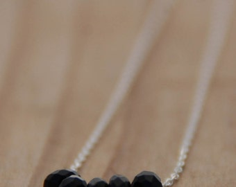 Black faceted Onyx Necklace, Sterling Silver Chain, Bridesmaid gift, Onyx Jewelry, , Minimalist Delicate Necklace, Birthstone Necklace, Sale