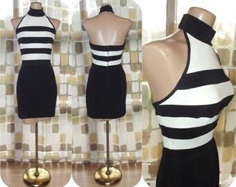 Vintage 90s Dress | 1990s TADASHI Dress | Black & White Striped Party Dress | Halter Neck | Mini Dress