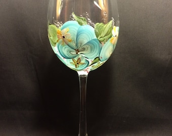 Hand Painted Wine Glass - Island Blossoms Blue Floral