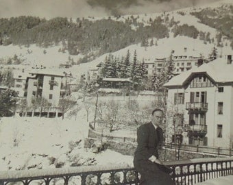 French Vintage Photo - Man in a Snowy Mountain Town