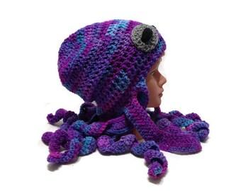 Purple Octopus Hat, Octopus Costume, Octopus Beanie, Octopus Novelty Hat, Octopus Cosplay, Octopus Beanie, Octopus Hat, Sea Creature Hat
