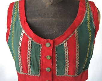 Czech Antique Moravian Green and Red Folk Costume Cropped Bolero Vest Gypsy Celtic Buttons
