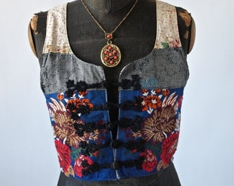 Czechoslovakia Antique Gold and Blue and Red Embroidered Metallic Gold Buillon Folk Costume Cropped Bolero Vest