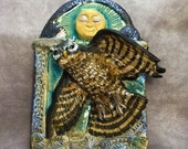 Owl Under the Moon original ceramic sculpture wall tile