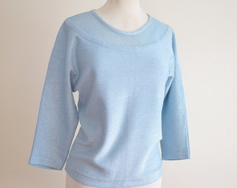 1950s Baby blue lurex knit sweater / 50s dolman sleeve knitted top - M L