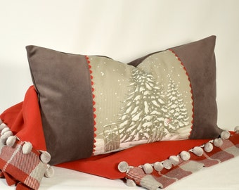 "Pillow The First Snow 24"" x 14"" Rectangular Boudoir Cushion Childhood winter memory Chic cottage Ski Lodge accent Grey Velvet"