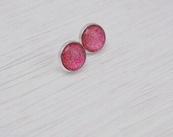 Pink Stud Earrings, Pink Glitter Earrings, Glass Stud Earrings, Pink Earrings, Silver Post Earrings, Glitter Stud Earrings, Gift for Her