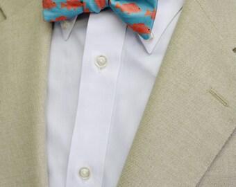 Red Fish Self-Tie or Pretied Men's Bow Tie on Silky Faille, Adjustable Bow Tie, Preppy Bow Tie, Fish Bow Tie, Southern Bow Tie, Coastal