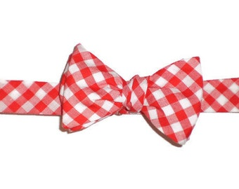 Men's Gingham Self-Tie or Pre-tied Bow Tie, Red Bow Tie, Navy Bow Tie, Sale Bow Tie, Plaid Bow Tie, Adjustable Bow Tie, Summer Bow Tie