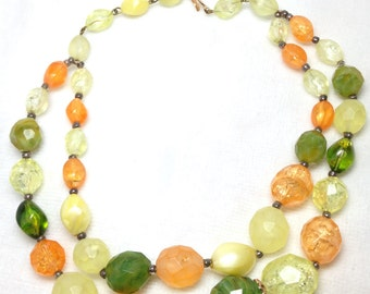 Beaded Necklace // Orange , Green, Yellow// Western Germany // Two Strand