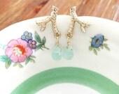 Gold Tree Branch Earrings. Blue Teardrop Dangle Post Back. Wire Wrapped Gemstone Jewelry. Small Aqua Drops
