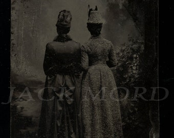 Amazing & Unusual Tintype Photo Mourning ? Victorian Girls with Backs to Camera
