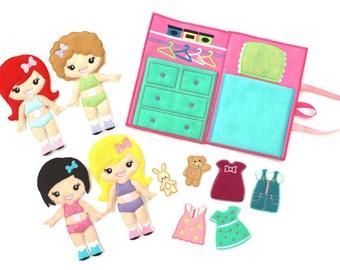 Felt Dress Up Doll, Dress Up Doll, Dress Up, Non Paper Doll, Felt, Pretend Play, Travel Toy, Dollhouse, Travel Dollhouse, Quiet Book, Travel