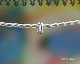 Double Row Plain and Beaded Large Hole Spacer Bead Sterling Silver 925