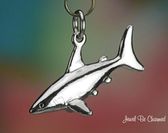 Sterling Silver Shark Charm Swimming Sharks in the Ocean 3D Solid .925
